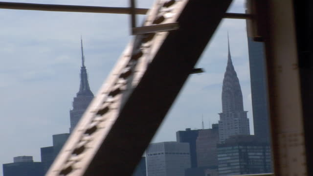 the view from the queensborough bridge features the midtown manhattan skyline. - empire state building stock videos & royalty-free footage