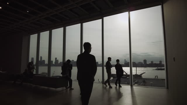 vídeos de stock, filmes e b-roll de the view from the whitney museum looking towards hoboken new jersey on april 10, 2021 in new york city, us. - alto contraste