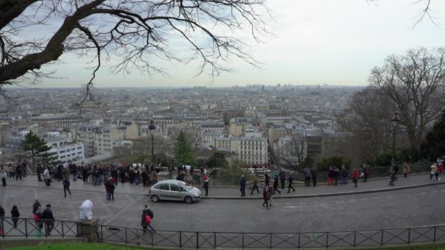 vidéos et rushes de the view of paris in winter from the sacré-cœur. - parking