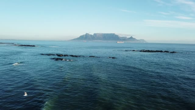 The view of Table Mountain from Blouberg Strand on the west coast of South Africa