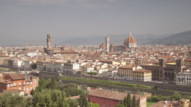 the view of the city of florence from piazzale michelangelo, italy. - fiore stock videos & royalty-free footage