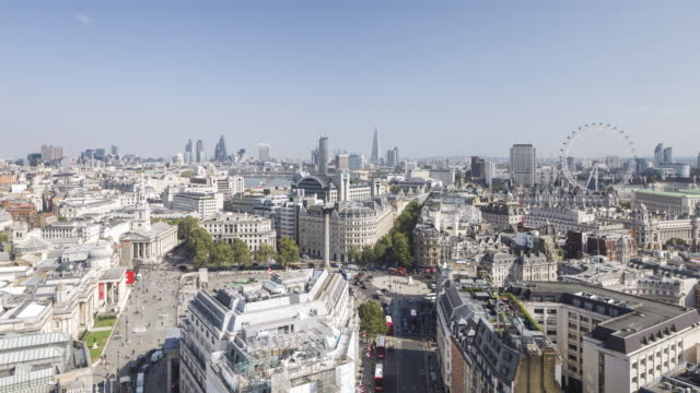 the view over central london and trafalgar square. - millennium wheel stock videos & royalty-free footage