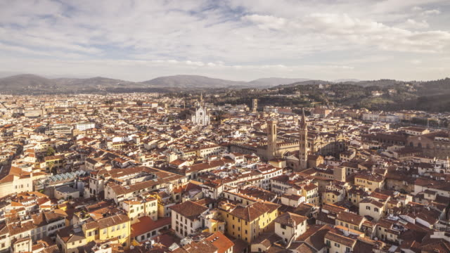 The view over Florence from Giotto's bell tower. Santa Croce is visible in the background.