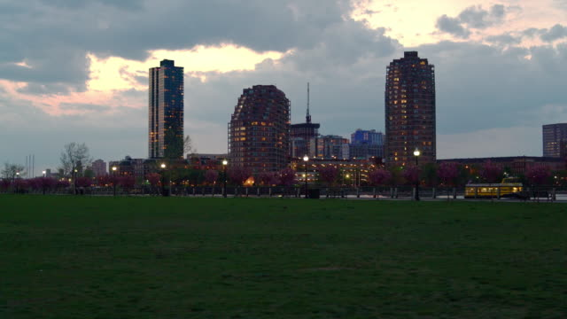 The view to Jersey City over the Morris Canal Bassin from the Liberty Park