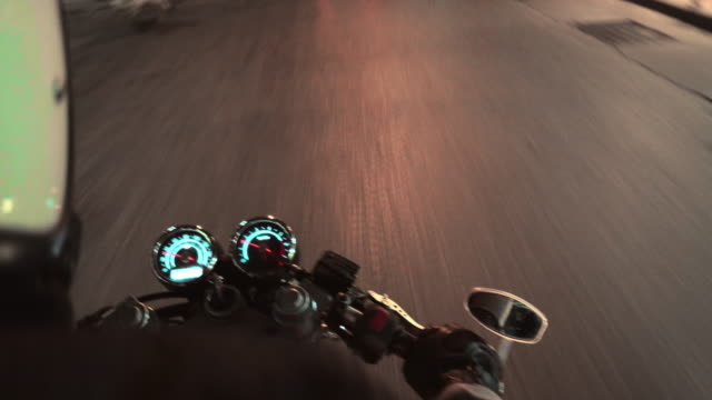 the viewpoint of motorcyclist driving in the night - motorcycle biker stock videos & royalty-free footage