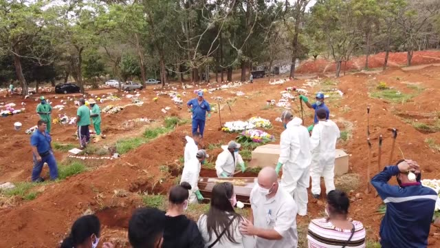 the vila formosa cemetery, where the dead bodies of the coronavirus pandemic victims are buried in sao paulo, brazil on may 22, 2020. drone shots... - place concerning death stock videos & royalty-free footage