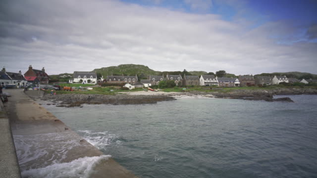 the village baile mòr, iona, scotland - island stock videos & royalty-free footage