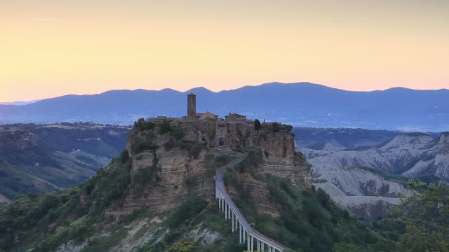 The village of Bagnoregio at dawn in Italy.