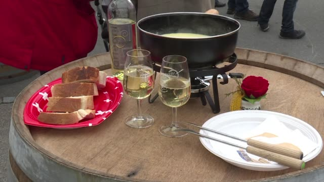 the village of tartegnin in switzerland is hosting the fondue world championships where a total of 120 fondues have been submitted by cooks from... - fondue stock videos & royalty-free footage
