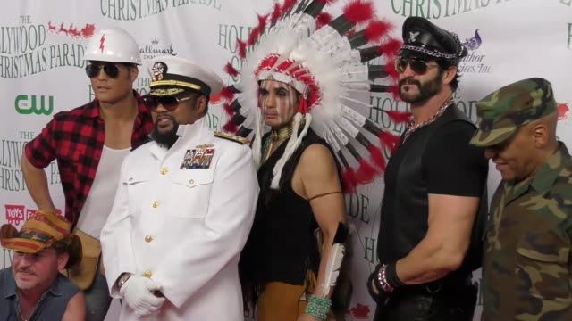 the village people at the 86th annual hollywood christmas parade on november 26 2017 in hollywood california - sfilata di natale di hollywood video stock e b–roll