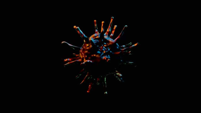 the virus move and fly in black background.scient and healthy concept. - macrophage stock videos & royalty-free footage