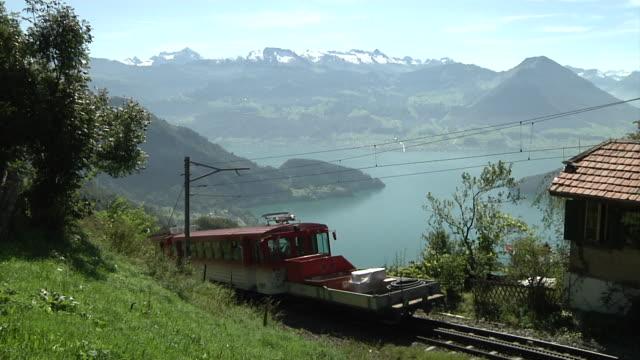 the vitznau–rigi railway overlooking lake lucerne - lake lucerne stock videos & royalty-free footage