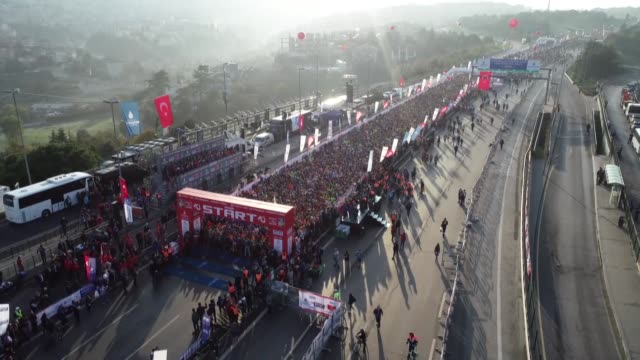 the vodafone 40th istanbul marathon starts on the asian side of istanbul's july 15 martyrs' bridge formerly known as the bosphorus bridge on november... - july 15 martyrs' bridge stock videos & royalty-free footage