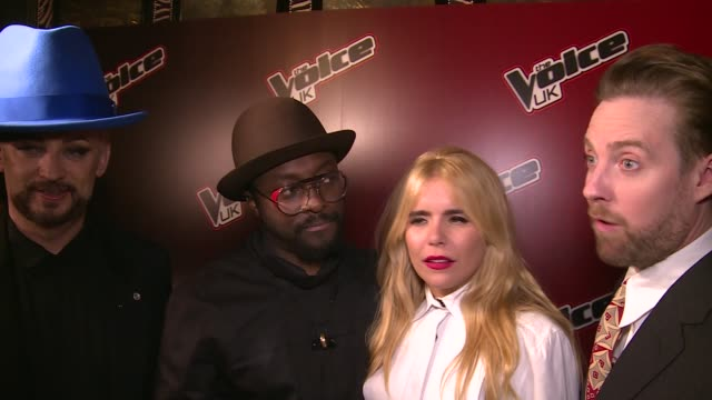 'the voice' red carpet interviews ricky wilson will is the maigret of rap / voice coaches interview sot on doing live show - voice stock videos & royalty-free footage