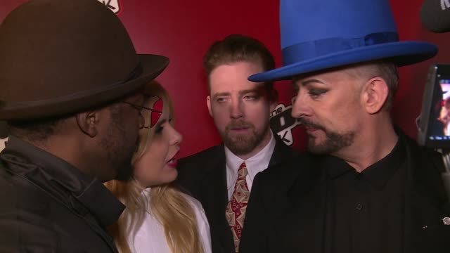 'the voice' red carpet interviews 'the voice' judges posing for group photograph ricky wilson boy george paloma faith and william / voice coaches... - voice stock videos & royalty-free footage