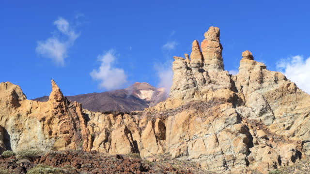 The volcano Teide in Teide National Park with rock formations in foreground. Pico de Teide, Teide National Park, Tenerife, Canary Islands, Spain.