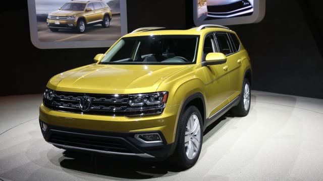 the volkswagen ag atlas sports utility vehicle is displayed during automobility la ahead of the los angeles auto show in los angeles california us on... - motor show stock videos and b-roll footage