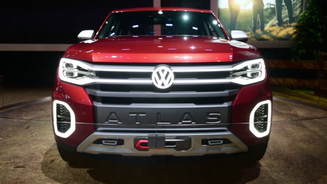 The Volkswagen AG Atlas Tanoak concept pickup is seen during the 2018 New York International Auto Show in New York US on Wednesday March 28 2018 The...