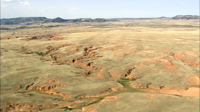 the vore buffalo jump  - aerial view - wyoming, crook county, united states - american bison stock videos & royalty-free footage