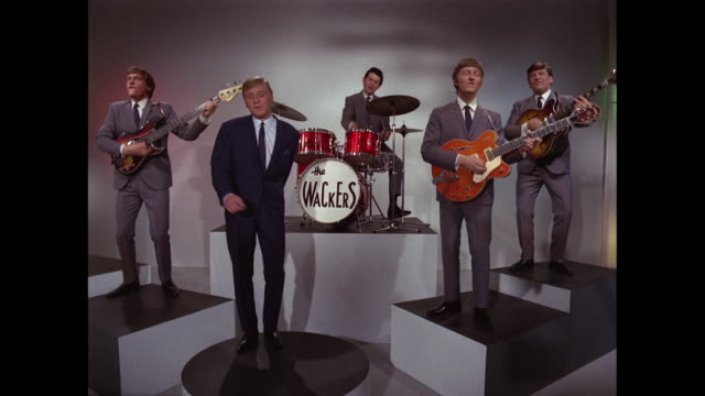 1964 -the wackers perform 'love or money' part 2 - pop music stock-videos und b-roll-filmmaterial