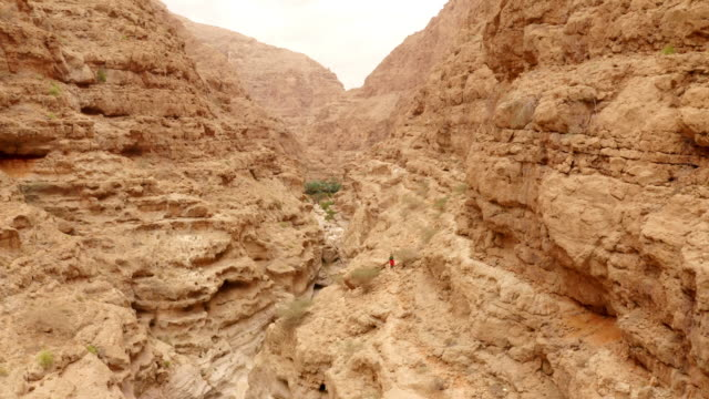 aerial the wadi shab in oman - dry stock videos & royalty-free footage
