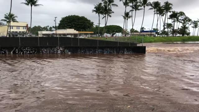 the wailuku river flood waters run downstream on the big island on august 23, 2018 in hilo, hawaii. hurricane lane has brought more than a foot of... - hilo stock videos & royalty-free footage