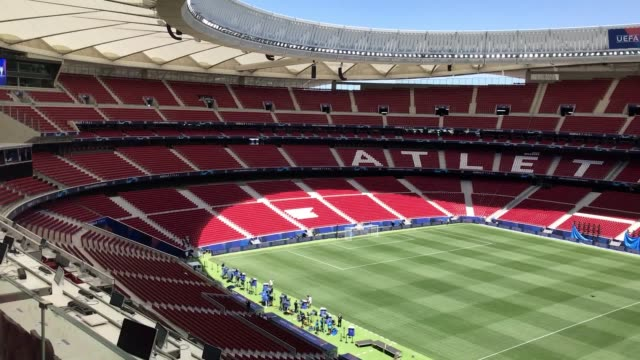 the wanda metropolitano stadium, home of athletico madrid, which will host the 2019 champions league final between liverpool and tottenham. - final round stock videos & royalty-free footage