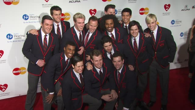 the warblers from 'glee' at the 2011 musicares person of the year honoring barbara streisand at los angeles ca - ムシクイ類点の映像素材/bロール