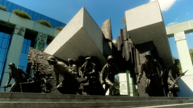 the warsaw uprising monument - statue stock videos & royalty-free footage