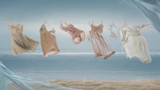 the washed clothes on a rope on wind - bra stock videos & royalty-free footage