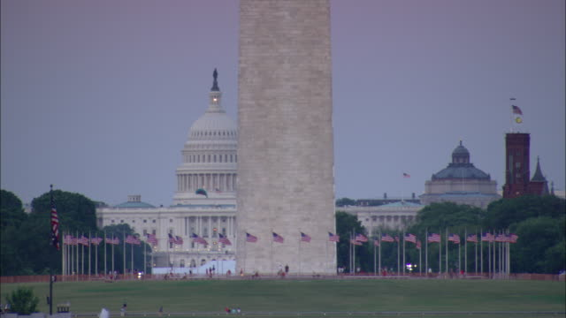 the washington monument rises above the united states capitol and the smithsonian castle. kite flys in foreground. - smithsonian institution stock videos & royalty-free footage