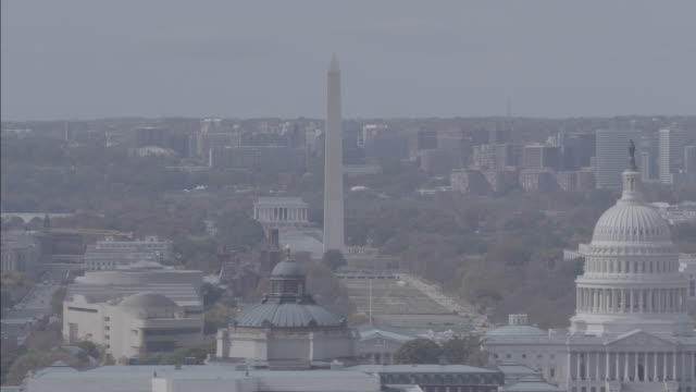 The Washington Monument, U.S. Capitol Building and the Lincoln Memorial dominate the Washington, D.C. skyline.