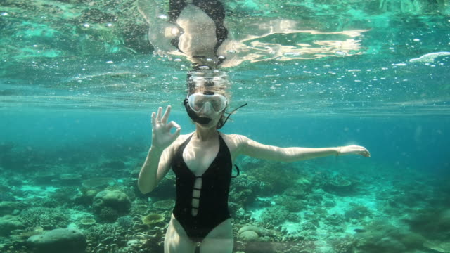 the water's all clear for a dive - ok sign stock videos & royalty-free footage