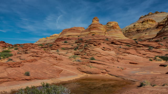 the wave (natural monument) in coyote butte north - butte rocky outcrop stock videos & royalty-free footage