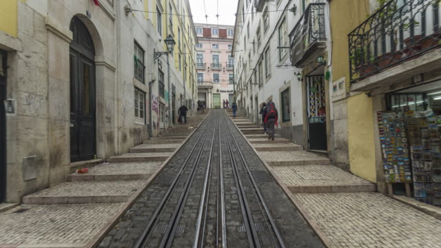 The way down timelapse of the famous Bica Funicular in Lisbon. Portugal. April, 2017