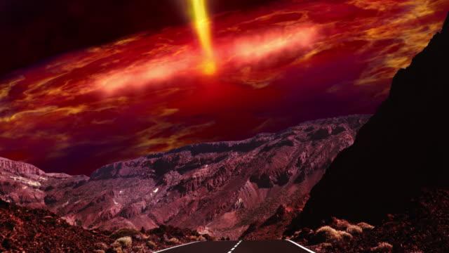 vídeos de stock, filmes e b-roll de o caminho para o planeta morto. céu abstrato, surreal - ilusão