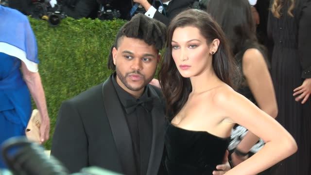 the weeknd bella hadid at manus x machina fashion in an age of technology costume institute benefit gala arrivals at metropolitan museum of art at... - bella hadid stock videos & royalty-free footage