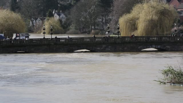 the welsh bridge in shrewsbury flooded by the river severn after the wettest february ever recorded in the uk febrary 2020 - crossing stock videos & royalty-free footage