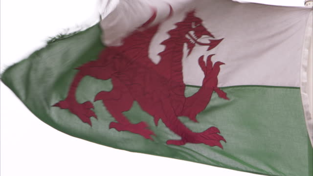the welsh flag flaps in the wind. available in hd. - cardiff wales stock videos & royalty-free footage