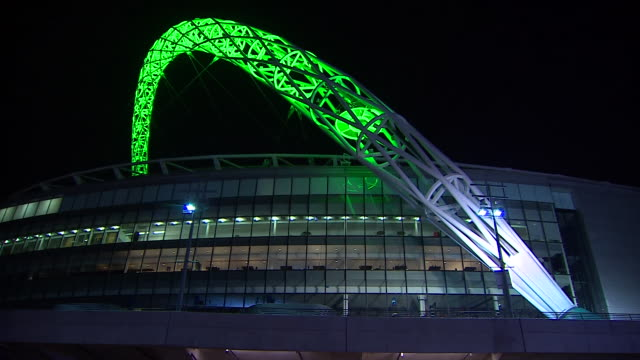 The Wembley arch illuminated green as a tribute to the Brazilian football team Chapecoense who lost the majority of their players in a plane crash
