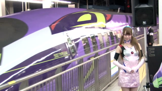 the west japan railway company began operations of the bullet train a kodama sanyo shinkansen train featuring a design based on the popular anime... - preacher stock videos & royalty-free footage
