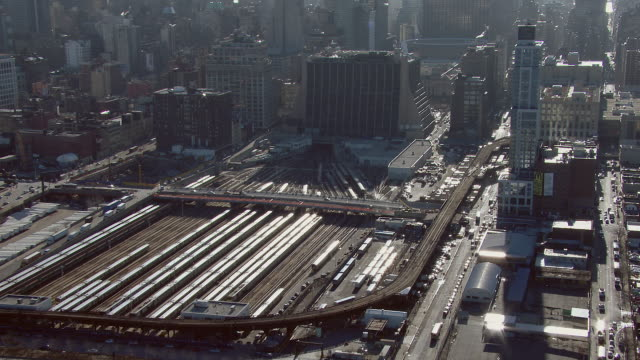 the west side yard in manhattan, new york city. the rail yard is used to store long island rail road commuter rail trains. - long island railroad stock videos and b-roll footage