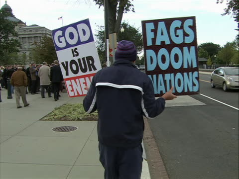 ms the westboro baptist church protesters demonstrate outside a jewish school the westboro church is a controversial independent baptist church that... - baptist stock videos & royalty-free footage