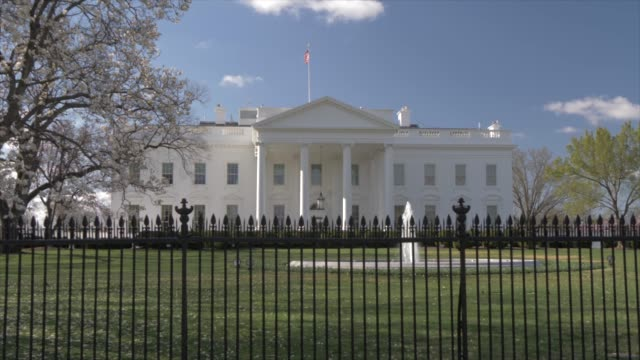 the white house and cherry blossom, washington dc, united states of america, north america - ワシントンdc ホワイトハウス点の映像素材/bロール