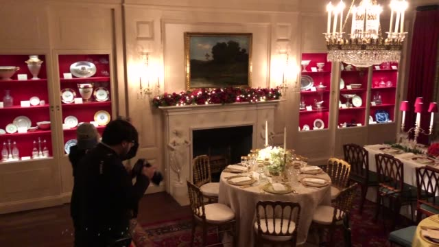 the white house china room is decorated for the holidays with three replicas from previous state dinners from the administrations of theodore... - state dinner stock videos & royalty-free footage
