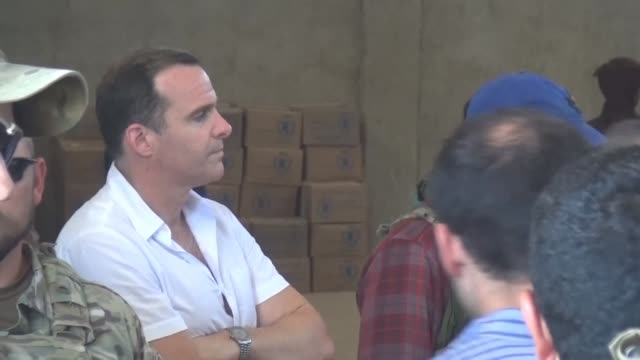 the white house envoy to the coalition brett mcgurk on thursday visited local leaders and members of the syrian democratic forces in the town ot... - syrian democratic forces stock videos & royalty-free footage
