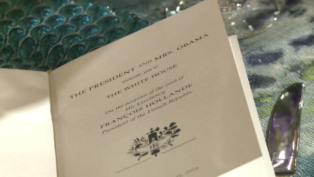 the white house offered a sneak preview to reporters the day before the state dinner between french president françois hollande and the obamas. clean... - state dinner stock videos & royalty-free footage