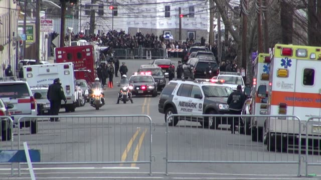the whitney houston funeral procession line up at whitney houston funeral general atmosphere on 2/18/2012 in newwark nj - whitney houston stock-videos und b-roll-filmmaterial