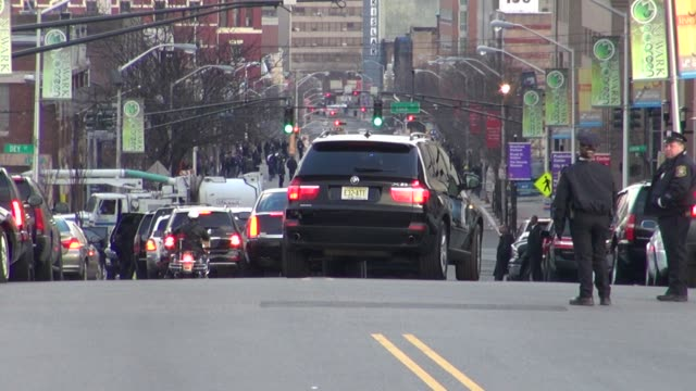 the whitney houston funeral procession with the hurst at whitney houston funeral general atmosphere on 2/18/2012 in newwark nj - whitney houston stock-videos und b-roll-filmmaterial