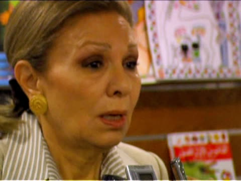 The widow of the Shah of Iran Farah Pahlavi denounced conditions for Iranians under the current Islamic regime during a booksigning in Cairo on...